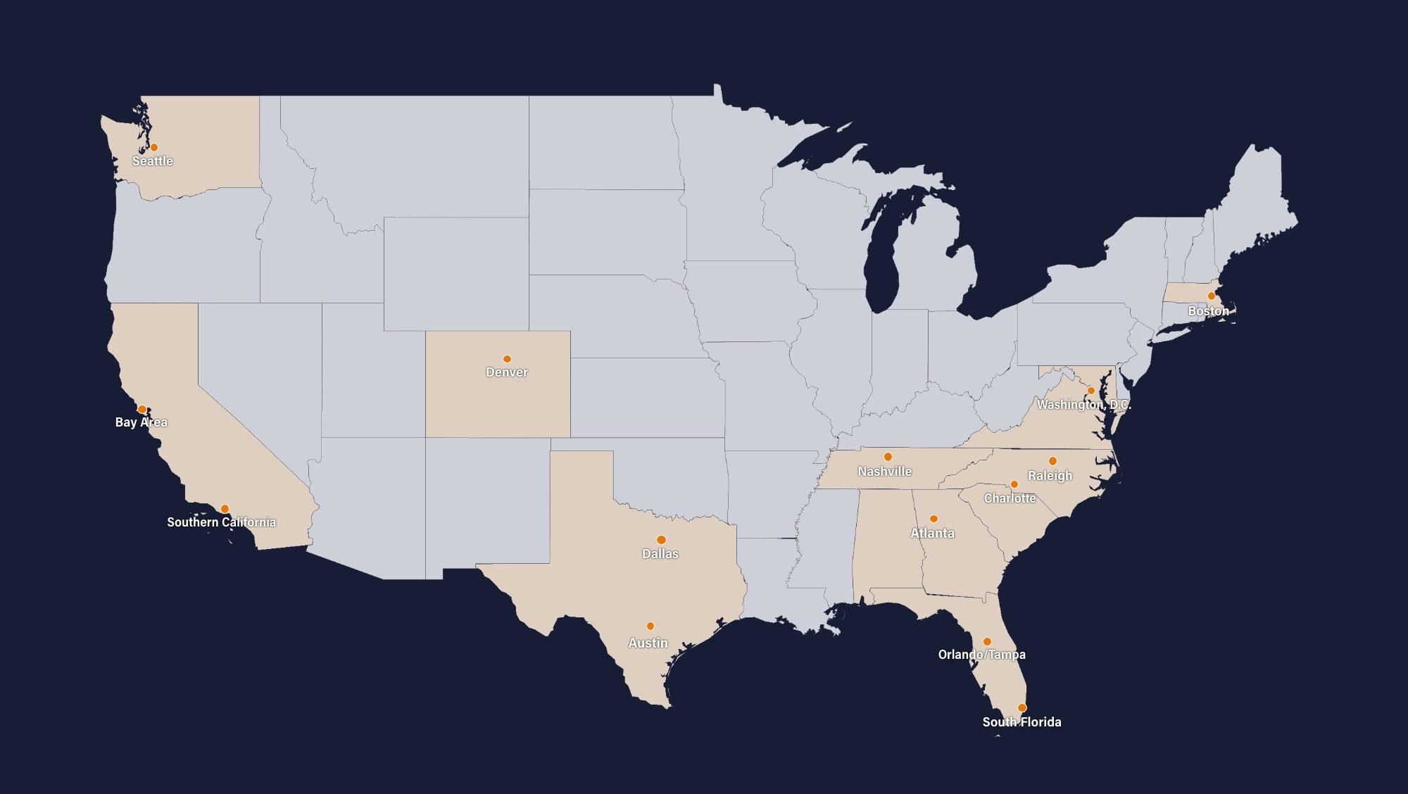 U.S. map depicting various apartment locations